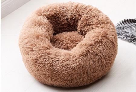 Katten- en hondenmand | Harige donut voor huisdieren in 6 maten en 9 kleuren! Bruin