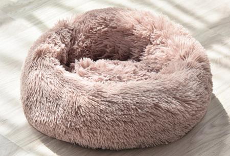 Katten- en hondenmand | Harige donut voor huisdieren in 6 maten en 9 kleuren! Lichtbruin