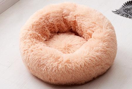 Katten- en hondenmand | Harige donut voor huisdieren in 6 maten en 9 kleuren! Oranje
