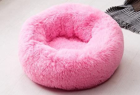 Katten- en hondenmand | Harige donut voor huisdieren in 6 maten en 9 kleuren! Roze