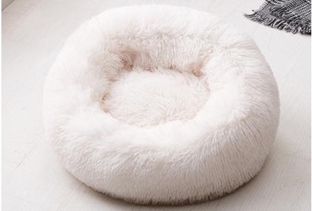 Katten- en hondenmand | Harige donut voor huisdieren in 6 maten en 9 kleuren! Wit