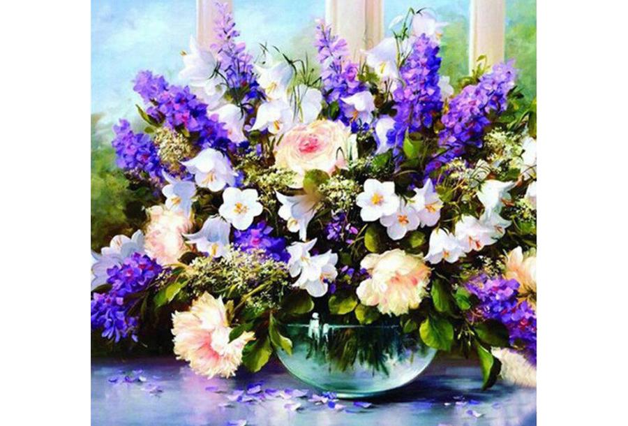 Diamond painting bloemen #7 - 50 x 50 cm