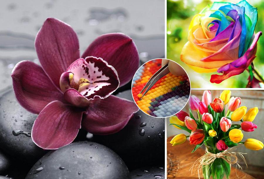 Diamond painting bloemen in de aanbieding