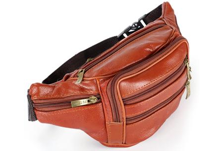 Leren heuptasje | Unisex fanny pack met handige vakken Bruin