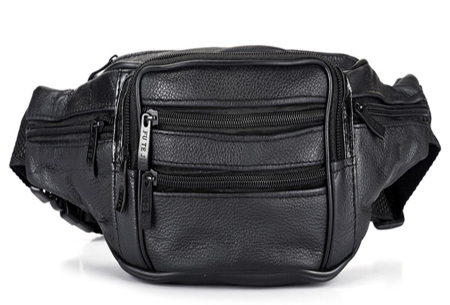 Leren heuptasje | Unisex fanny pack met handige vakken Zwart
