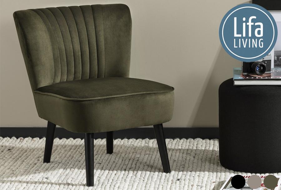 Fluwelen fauteuil van Lifa Living nu met korting