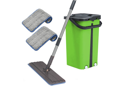 Cenocco Flat Mop | Handige dweil en emmer met ingebouwde was- en droogfunctie Groen