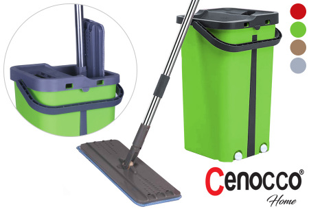 Cenocco Flat Mop | Handige dweil en emmer met ingebouwde was- en droogfunctie