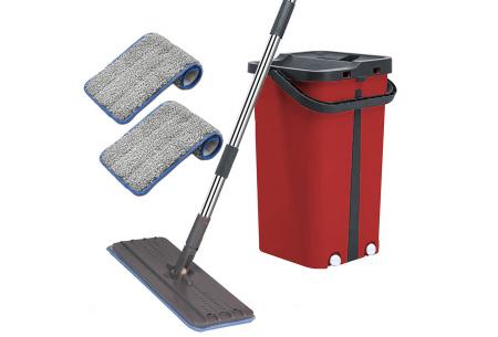 Cenocco Flat Mop | Handige dweil en emmer met ingebouwde was- en droogfunctie Rood