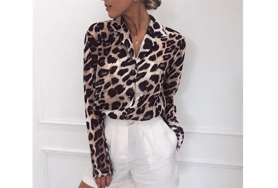Panterprint jurk en blouse - Blouse - Maat M - Lichtbruin