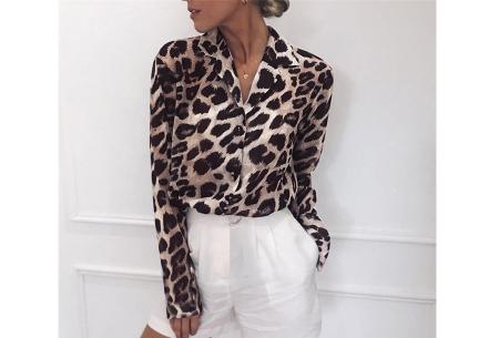 Panterprint jurk en blouse | Comfortabele en luchtige kledingstukken Lichtbruin