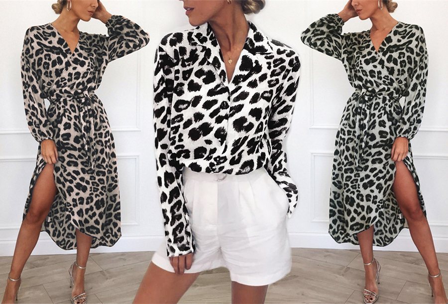 Panterprint jurk en blouse voor dames in de sale