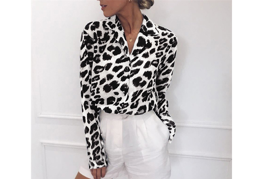 Panterprint jurk en blouse - Blouse - Maat M - Wit