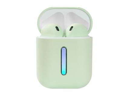 Draadloze bluetooth earbuds | Oordopjes met luxe oplaadcase - Keuze uit 5 kleuren!  Mintgroen