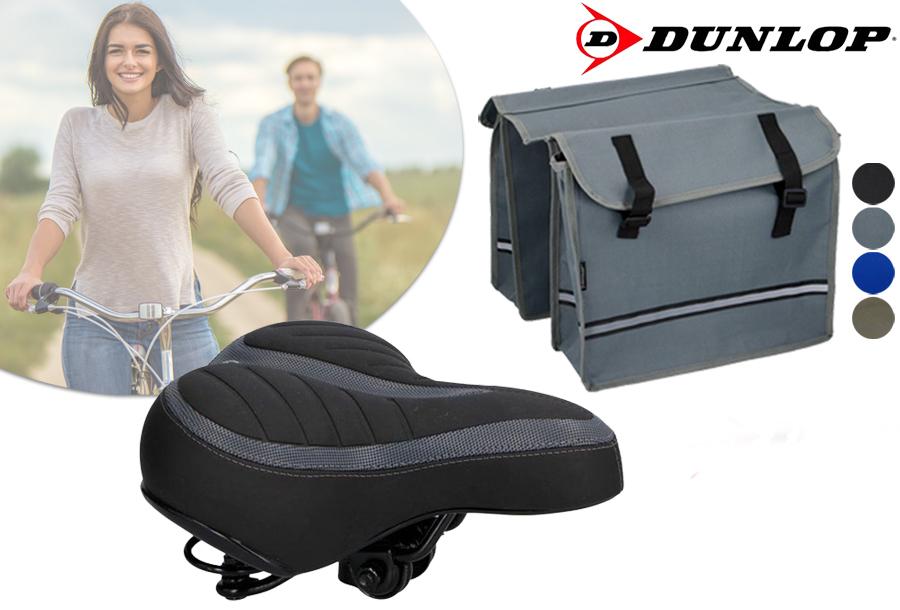 Dunlop fietszadel en -tassen nu in de aanbieding