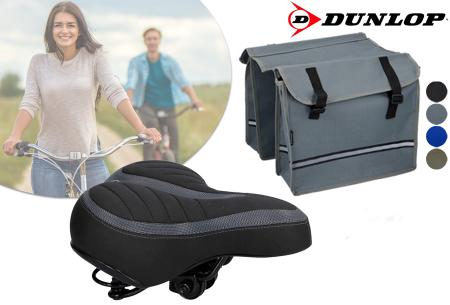 Dunlop fietszadel en -tassen   Comfortabel gelzadel en ruime fietstassen!