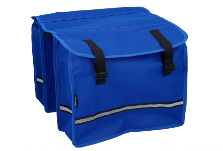 Dunlop fietszadel en -tassen   Comfortabel gelzadel en ruime fietstassen!  Fietstas - blauw