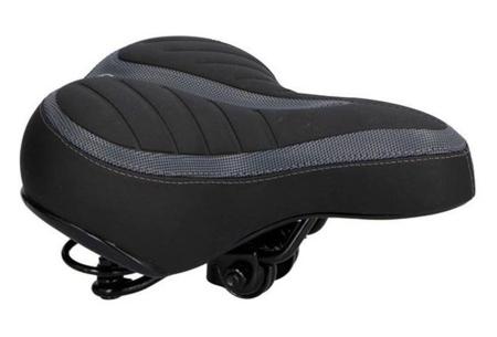Dunlop fietszadel en -tassen   Comfortabel gelzadel en ruime fietstassen!  Fietszadel