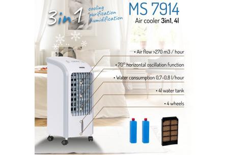 Mesko 3-in-1 aircooler   Een luchtbevochtiger, - koeler en -zuiveraar in één!