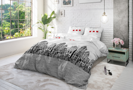 Cotton Blend dekbedovertrekken van Sleeptime | Stijlvol beddengoed in 6 printjes Amsterdam Canal - grijs