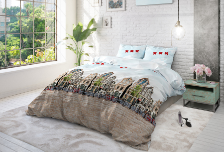 Cotton Blend dekbedovertrekken van Sleeptime | Stijlvol beddengoed in 6 printjes Amsterdam Canal - multi