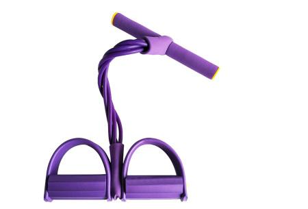 Fitness apparaat met weerstandsbanden | Been-, arm- én buikspiertrainer voor thuis Paars