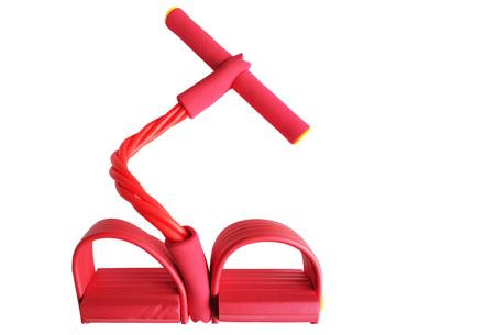 Fitness apparaat met weerstandsbanden | Been-, arm- én buikspiertrainer voor thuis Rood