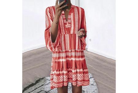 Aztec tuniek | Hippe zomerjurk van luchtige stof Rood