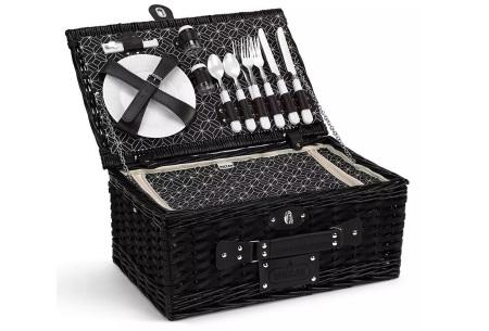 Buccan picknickmand voor 4 personen | Luxe rieten mand incl. kleed, servies en bestek