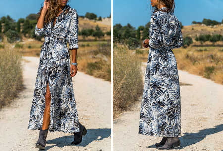 Palm blousejurk | Lange zomerjurk met trendy print Blauw