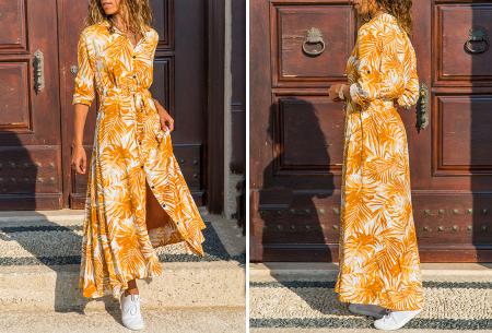 Palm blousejurk | Lange zomerjurk met trendy print Geel