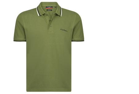 Pierre Cardin polo | Hip en zomers polo shirt met gestreepte details voor heren legergroen