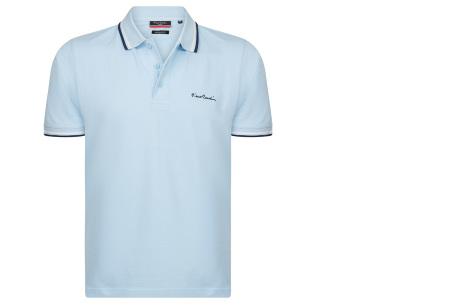 Pierre Cardin polo | Hip en zomers polo shirt met gestreepte details voor heren lichtblauw