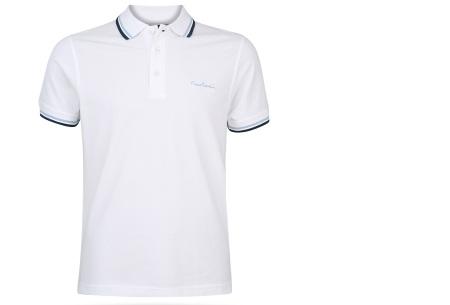 Pierre Cardin polo | Hip en zomers polo shirt met gestreepte details voor heren wit