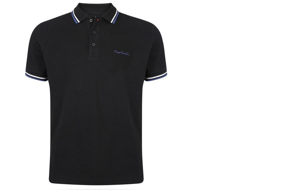Pierre Cardin polo met gestreepte details Maat XL - Zwart