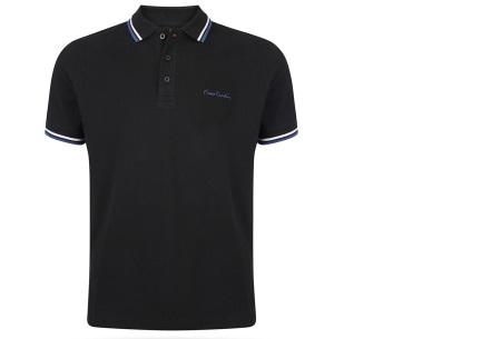 Pierre Cardin polo | Hip en zomers polo shirt met gestreepte details voor heren zwart