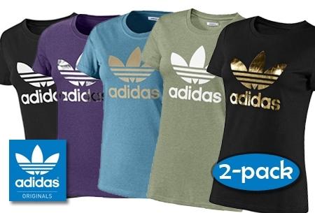 e0c89818ab5 € 29,95 voor 2 Adidas Originals dames Trefoil Tee-shirts t.w.v. € 59,95