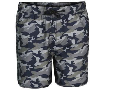 Pierre Cardin zwembroek met camouflage print | Hippe leger zwemshorts voor heren grijs