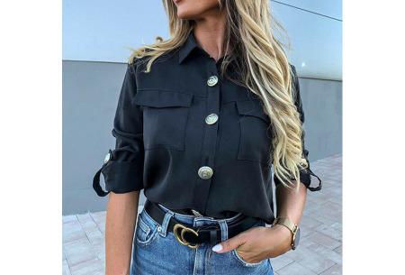 Dames blouse met goudkleurige knopen   Luchtige musthave met vintage detail! Zwart