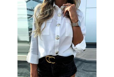 Dames blouse met goudkleurige knopen   Luchtige musthave met vintage detail! Wit