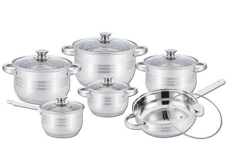 12-delige pannenset van Herzberg | Met stijlvolle hapjespan en kookpannen