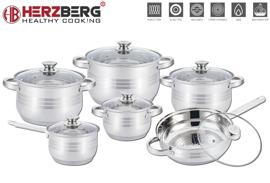 12-delige pannensets van Herzberg met korting