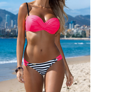 Bikini sale - Maat S - #1 - Lovely Beach bikini - #2 - Stripe fuchsia