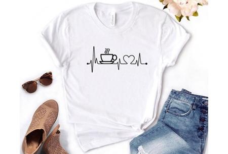 Dames T-shirt met koffie- of wijnopdruk | Hilarisch shirt voor koffie- of wijnliefhebbers Koffie - wit