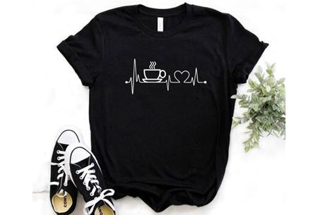 Dames T-shirt met opdruk - Koffie T-shirt - Maat L - Zwart
