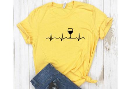 Dames T-shirt met koffie- of wijnopdruk | Hilarisch shirt voor koffie- of wijnliefhebbers Wijn - geel