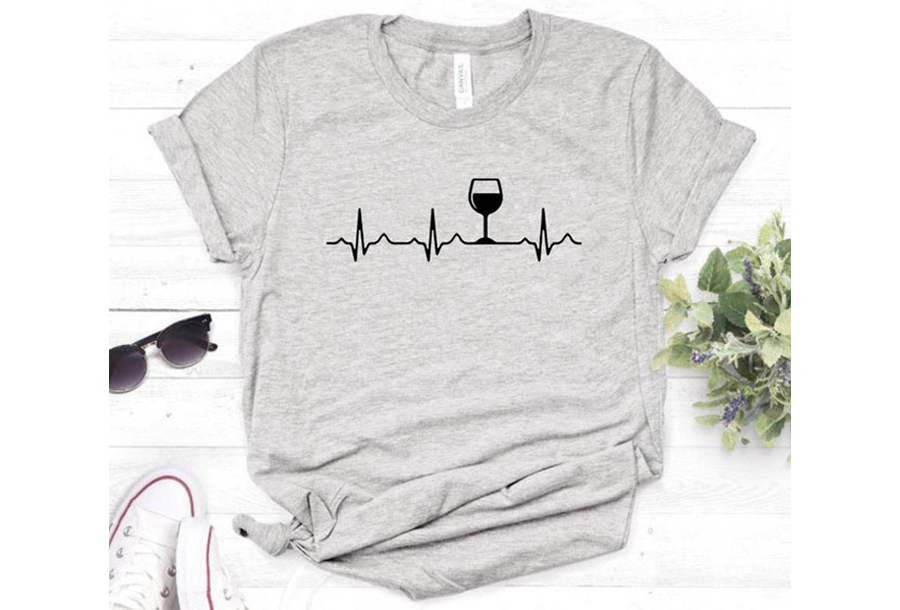 Dames T-shirt met opdruk - Wijn T-shirt - Maat S - Grijs