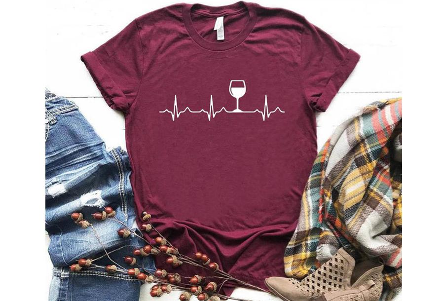 Dames T-shirt met opdruk - Wijn T-shirt - Maat XL - Wijnrood