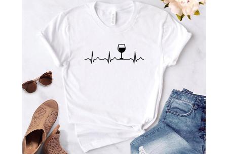 Dames T-shirt met koffie- of wijnopdruk | Hilarisch shirt voor koffie- of wijnliefhebbers Wijn - wit