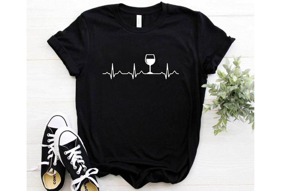 Dames T-shirt met opdruk - Wijn T-shirt - Maat S - Zwart